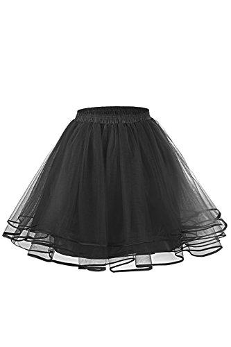 [LaceLady Women's 50s Petticoat Skirts Short Tutu Crinoline Underskirt Dance Half Slip Black XL] (Black Sparkly Dance Costumes)