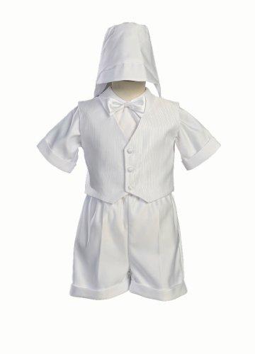 White Satin Christening Baptism Short Set with Vest and Hat - 4T