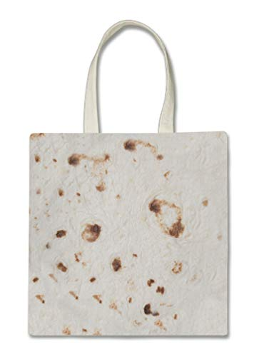 Tortilla Halloween Trick Or Treat Polyester White Tote Bag 15x16x 3.5]()