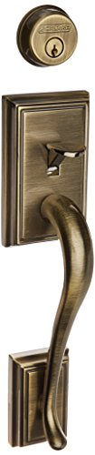 Schlage F62-ADD-PLY Double Cylinder Addison Handleset with Plymouth Interior Kno, Antique Brass