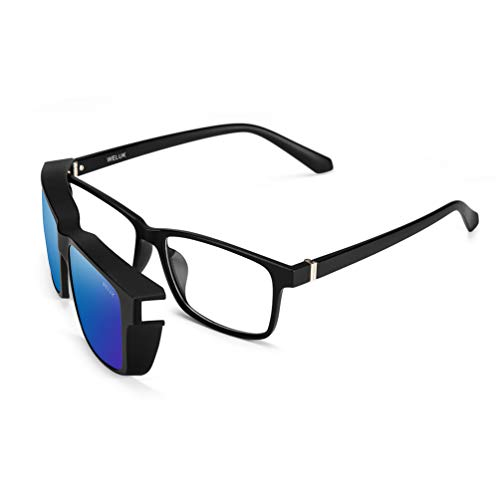 2 in 1 Set, Eyeglasses Frame with Magnetic Clip on Polarized ()