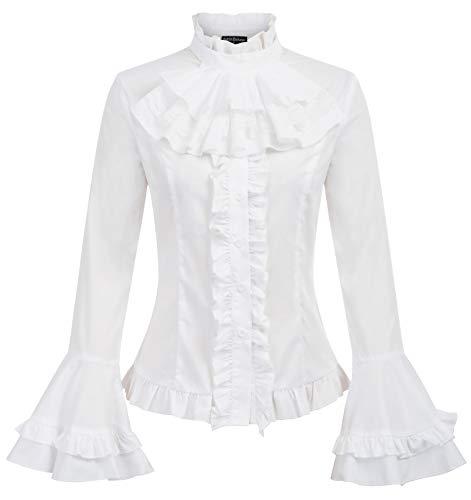Women Retro Lotus Ruffle Victoria Shirts Steampunk Gothic Blouse White S]()