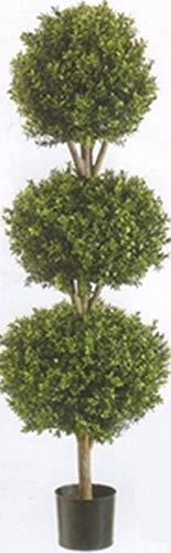 - One 56 inch Outdoor Artificial Boxwood Triple Ball Topiary Tree Potted UV 5 6 4