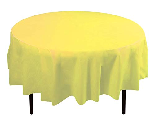 12-Pack Premium Plastic Tablecloth 84in. Round Table Cover - Light Yellow