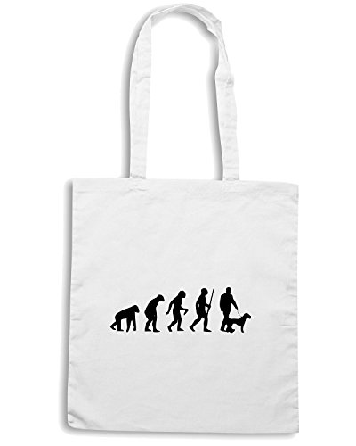 T-Shirtshock - Borsa Shopping EVO0021 Funny Dog Evolution Maglietta Bianco