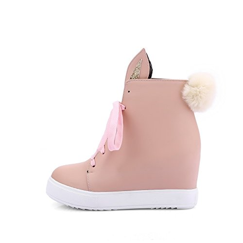Allhqfashion Dames Lace-up Gesloten Ronde Neus Hoge Hakken Pu Low-top Laarzen Roze