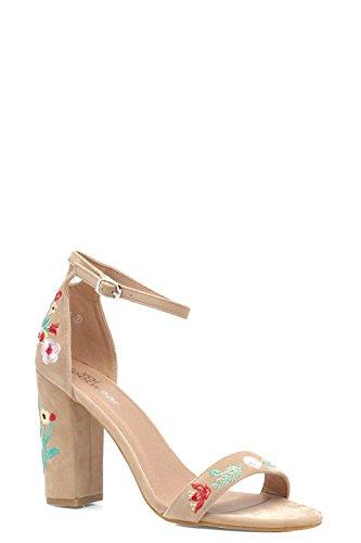 Nackt Damen Poppy Bestickte Sandalen Mit Blockabsatz Nackt