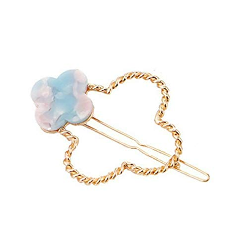 Moon Clover Shaped Hair Clips Women Floral Star Resin Marble Geometric HHairpins (Color - 4)