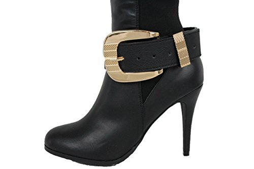 Jennifer Lopez Vegas Costumes (TFJ Women Boot Bracelet Western Gold Metal Belt Buckle Charm Black Strap Faux Leather)