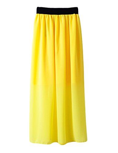 Legou Femme Jupe Longue Taille Haute pliss Jaune