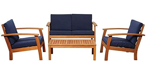 Amazonia 4-Pc Patio Conversation Set with Blue Cushions (Patio Miami Furniture Clearance)