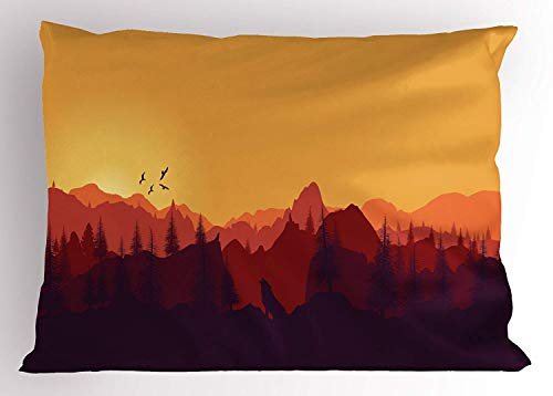 (K0k2t0 Landscape Pillow Sham, Vector Panoramic Mountain Sunset with Buildings and Birds Image, Decorative Standard Queen Size Printed Pillowcase, 30 X 20 inches, Marigold Orange Ruby Maroon)