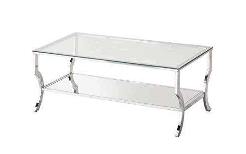 Coaster 720338-CO Glass Top Coffee Table, Chrome (Coffee Table Chrome)