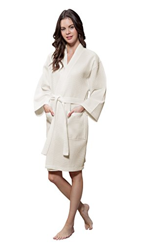 Ladies Waffle - Lightweight Cotton Blend Women Waffle Kimono Spa Robe (Small/Medium, Beige)