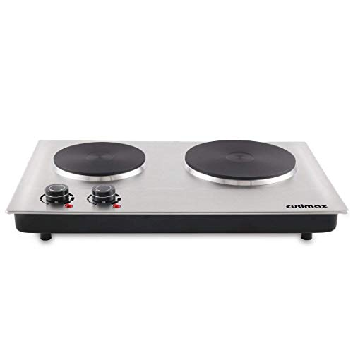 (Cusimax 1800W Hot Plate for Cooking Electric - Double Electric Burner - Stainless Electric Stove - Upgraded - CMHP-C180N)