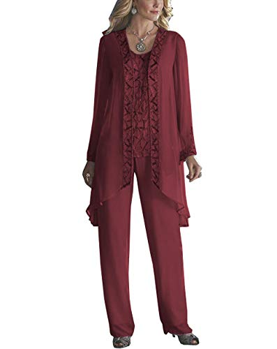 LoveeToo Women's 3 Pieces Chiffon Mother of Groom Bride Dress Pant Suits Long Sleeves with Outfit for Wedding Groom(Customized Size,Burgundy ()