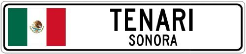 custom-street-sign-tenari-sonora-mexico-flag-city-sign-4x18-inches-aluminum-metal-sign