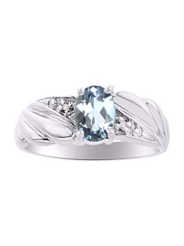 Ladies Classic Oval Aquamarine & Diamond Ring Set in Sterling Silver .925 March Birthstone