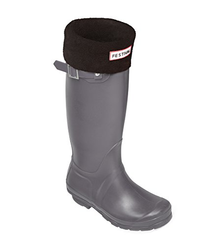 Ladies Original Tall Warm Winter Rain Wellies Wellington Boots Sizes 3-9 UK (7, Grey/Black)