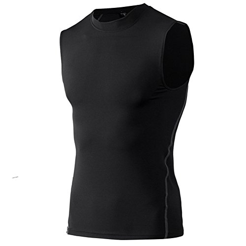 TOPTIE Mens Compression Sleeveless Base Layer, Athletic Workout T-Shirt-Black-XL ()