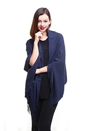 REEMONDE Womens Super Soft Long Shawl Solid Colors Warm Pashmina Big Scarf (Denim)