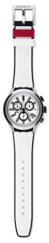 Swatch White Dial White Silicone Quartz Chronograph Men's Watch YYS4005