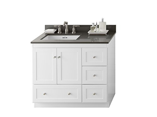 RONBOW Shaker 37 inch Modular Bathroom Vanity Set in White, Single Bathroom Vanity with Top and Backsplash in Gray with 8 inch Widespread Faucet Hole, White Ceramic Vessel Sink 081936-3L-W01_Kit_1 (White W01 Wood Vanity Shaker)