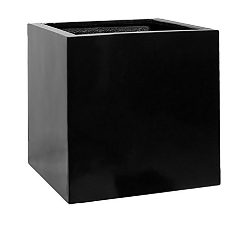 Black Square Planter Box Indoor & Outdoor - Elegant Matte Cube Shaped Flower Tree Pot - Inner Dimensions 20