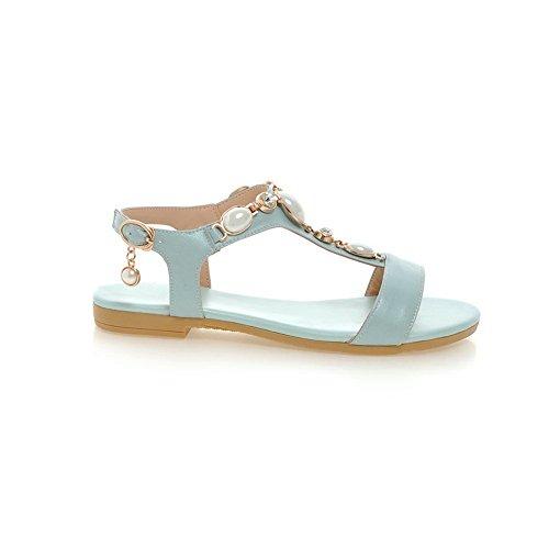BalaMasa Womens Sandals Peep-Toe Urethane Soft-Ground Huarache Sandals ASL04667 Blue c29v1QOm