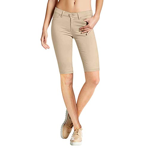 Beautyfine Women Solid Five-Point Shorts Slim-Fit Casual Solid Stretch Comfy Skinny Zip Pants High Waist Knee Length Shorts Khaki