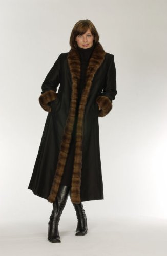 "519 Black Taffeta Black Sheared Nutria Wild Type Crosscut Mink Tuxedo, Notch Collar and Cuffs Lined 44"" Slightly Shaped Coat - Nutria Fur Coat"