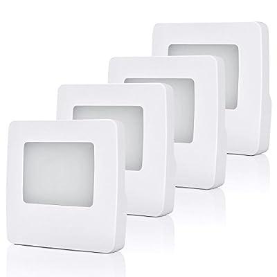 DEWENWILS Plug in LED Night Light Automatic Light Sensor Warm White 3000K for Hallway Bathroom Bedroom Kids Baby Nursery, Pack of 4