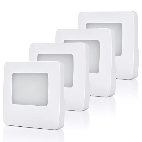 DEWENWILS Plug in LED Night Light, Nightlight with Dusk to Dawn Sensor, Warm White 3000K for Hallway Bathroom Bedroom Kids Baby Nursery, Pack of 4