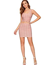 SheIn Women's 2 Piece Crop Tank Top with Skirt Set Plaid Sleeveless Bodycon Mini Dress
