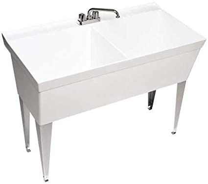 Beau Swan MF 2F Floor Mounted Double Laundry Tub, White