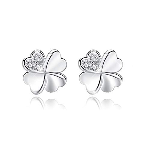 (BONLAVIE Lucky Four Leaf Clover Design Hypoallergenic Stud Earrings 925 Sterling Silver for Bridal Bridesmaids)