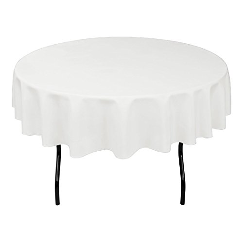 """Gee Di Moda Tablecloth - 90"""" Inch Round Tablecloths for Circular Table Cover in White Washable Polyester - Great for Buffet Table, Parties, Holiday Dinner & More"""