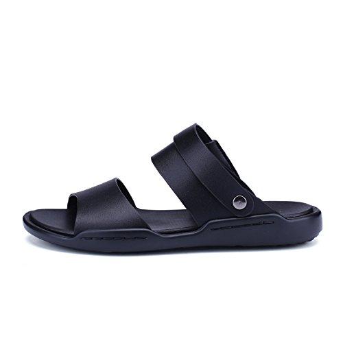 estate vera pelle Uomini sandali Uomini Tempo libero sandali Doppio uso scarpa tendenza Il nuovo traspirante Uomini scarpa ,nero,US=9,UK=8.5,EU=42 2/3,CN=44