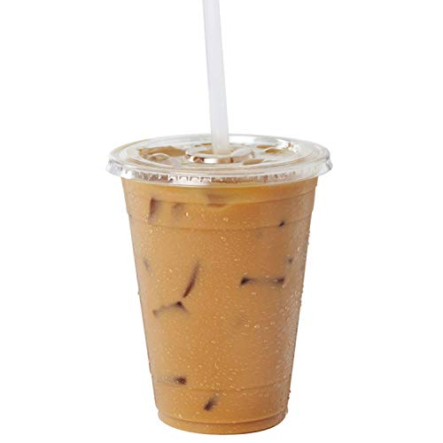 Clear Plastic Cups With Flat Slotted Lids for Iced Cold Drinks 16oz, Disposable, Medium Size [100 Pack] ()