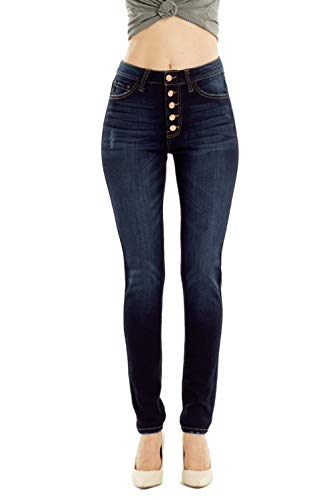 Kan Can Jeans Leary-Lexy High-Rise Exposed Button Curvy Fit Skinny Jeans KC7114SD (30/13)