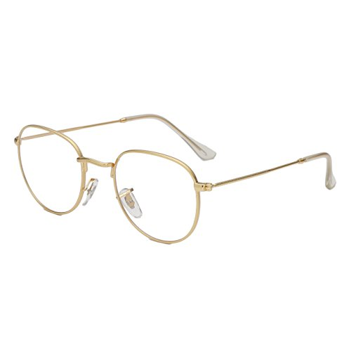 Simvey Oval Vintage Designer Round Circle Eye Glasses Metal Frame Clear Lens 51mm