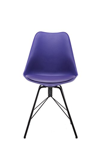 Cheap Design Furniture Eames Style Upholstered Dining Chair Set of 4, Grey Modern Kitchen Dining Room Side Chair with Cushion Seat Metal Leg (PURPLE)