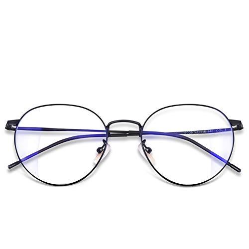 Occffy Blue Light Filter Computer Glasses for UV Blocking Anti Eyestrain Gaming Glasses Anti-Glare Protection for Men Women 6006 (Black ()