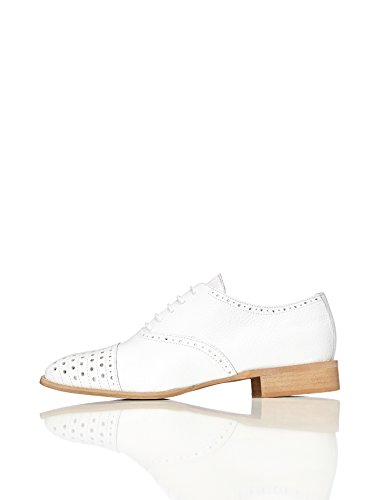 FIND Stringata Donna White Bianco Pelle in Scarpa Martellata OO7qzr