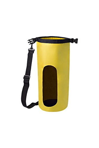 Festive Cards - nod Waterproof 5 Liter Yellow Dry Bag With Adjustable Strap and Snap Buckle and Heavy Duty Vinyl