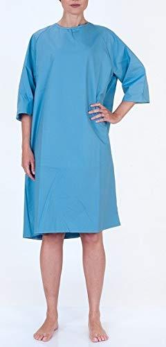 Cotone, Bianca con quadretti azzurri Camicia da notte aperta dietro OSPEDALIERA
