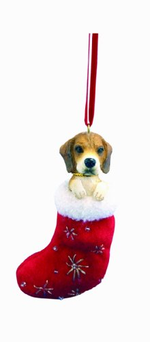 "Beagle Christmas Stocking Ornament with ""Santa"