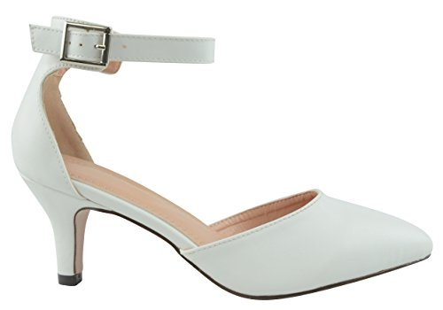 Closed Heel White DOrsay Toe Buckled Pump Pu Pointed Strap Cambridge Mid Womens Select Ankle 7wxHqSEv