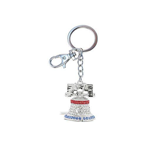 (Aqua79 Crystal Charm Keychain, Rhinestone Silver Women Key Ring - Liberty Bell)