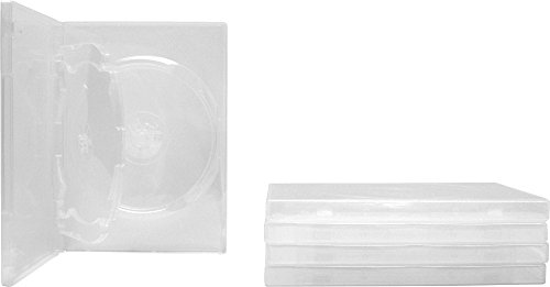 Square Deal Recordings & Supplies (5) Clear Thin Triple DVD Hinged Empty Replacement Boxes/Cases with Wrap Around Sleeve #DV3R14CL (14mm) (3DVD)